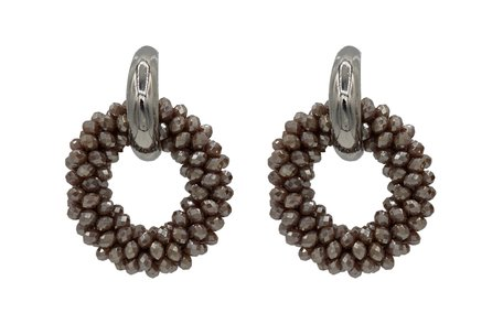 EARRING OF FACET GLASS BEADS - BROWN