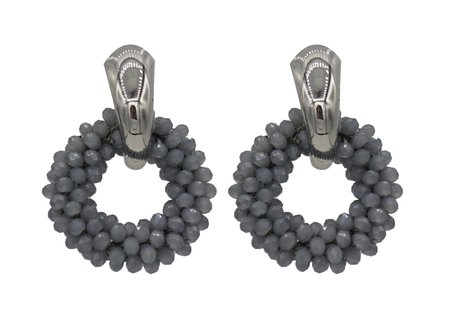 EARRING OF FACET GLASS BEADS - GREY