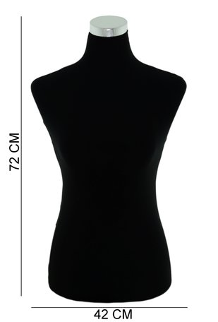 Luxe Mannequin Display Torso Velvet Zwart