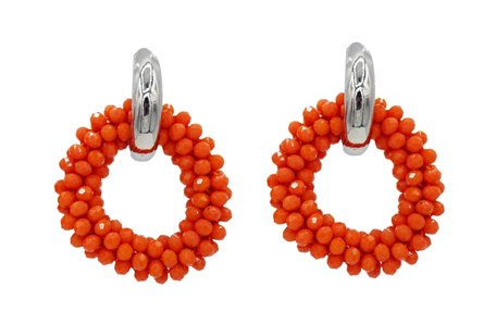 EARRING OF FACET GLASS BEADS - ORANGE