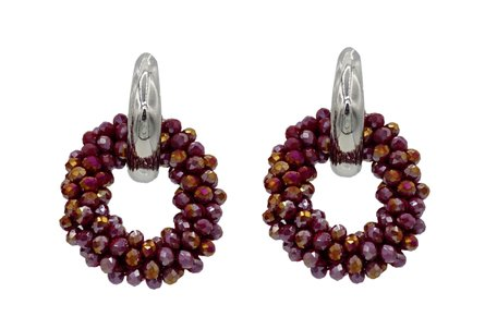 EARRING OF FACET GLASS BEADS - RED