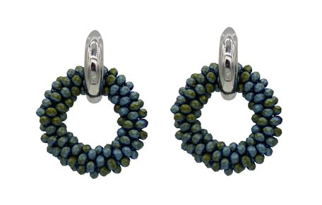 EARRING OF FACET GLASS BEADS - GREEN
