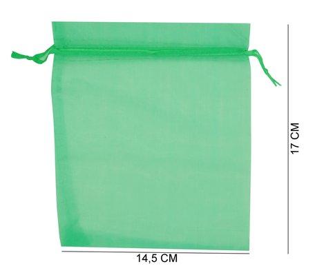 Organza zakjes Groen Kleur 17x14,5 cm Pak van 100 Stuks