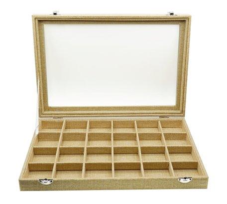 Sieraden Koffer Bamboe-Look 24 Vakken