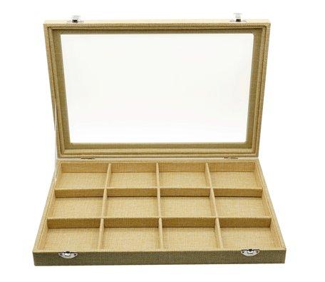 Sieraden Koffer Bamboe-Look 12 Vakken