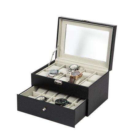 Luxe Lederen Horloge Koffer 20 Vakken Incl, Sleutel