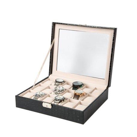 Luxe Lederen Horloge Koffer 18 Vakken