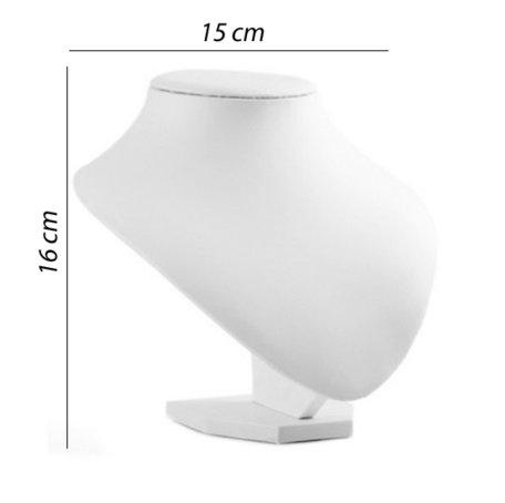 Display Hals Wit Kunstleer 16 cm hoog