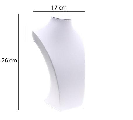 Display Hals Wit PU-Leer 26cm Hoog