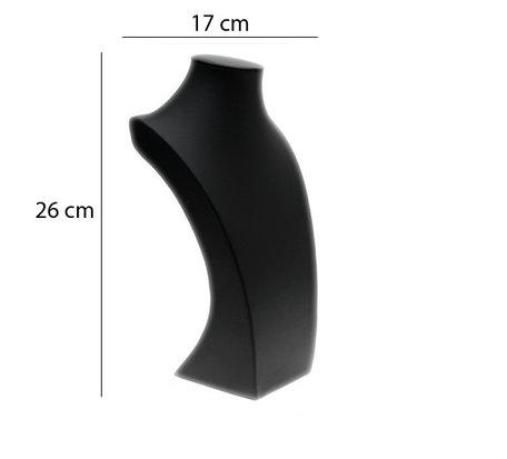 Display Hals Zwart PU-Leer 26cm Hoog
