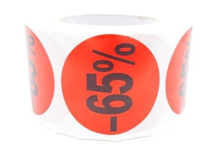 Prijs/Korting -65% stickers 500 stk