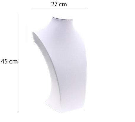 Display Hals Wit PU-Leer 45cm Hoog