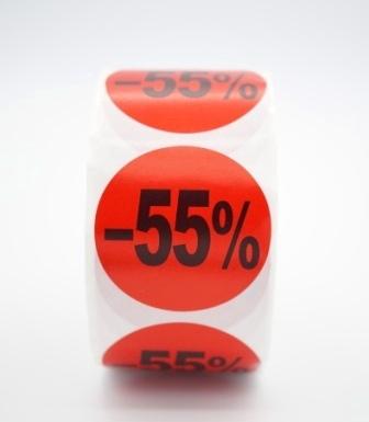 Prijs/Korting -55% stickers 500 stk