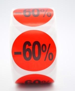 Prijs/Korting -60% stickers 500 stk