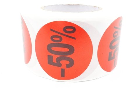 Prijs/Korting -50% stickers 500 stk