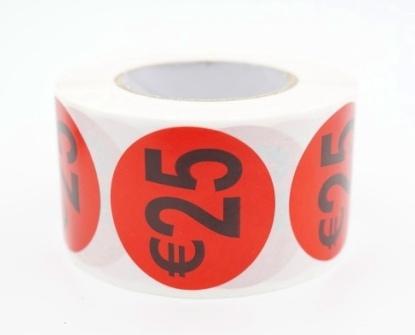 Prijs/Korting 25 euro stickers 500 stk - Dia: 3.5cm