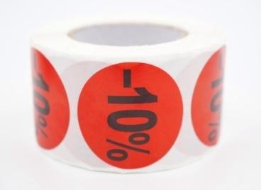 Prijs/Korting -10% stickers 500 stk