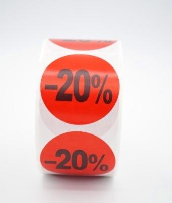 Prijs/Korting -20% stickers 500 stk