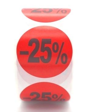 Prijs/Korting -25% stickers 500 stk