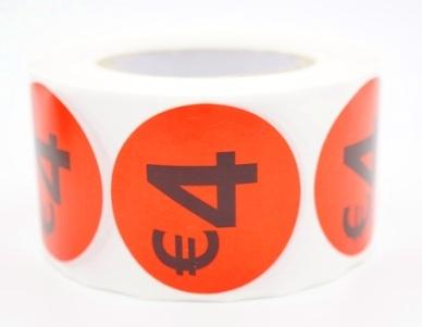 Prijs/Korting 4 euro stickers 500 stk - Dia: 3.5cm