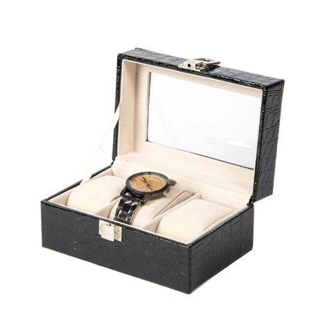 Luxe Lederen Horloge Koffer 3 Vakken
