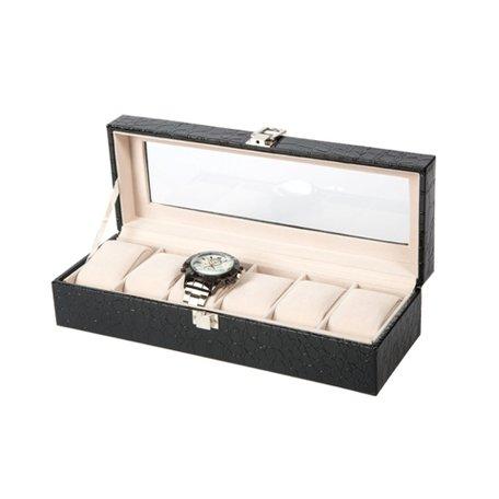 Luxe Lederen Horloge Koffer 6 Vakken