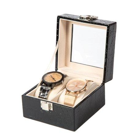 Luxe Lederen Horloge Koffer 2 Vakken