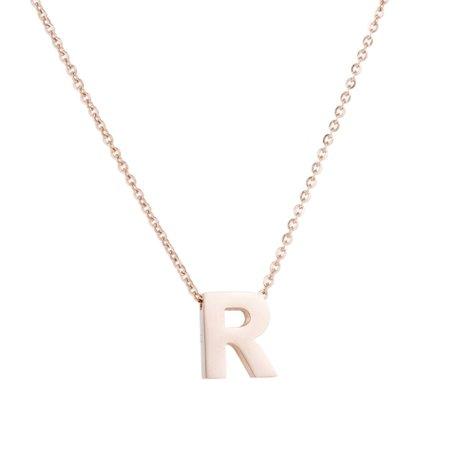 RVS Letter R Ketting - Rosé Kleur