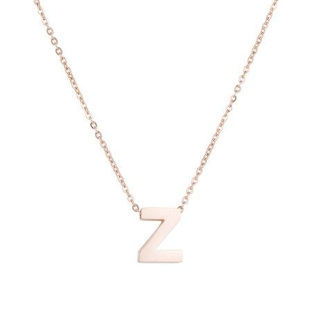 RVS Letter Z Ketting - Rosé Kleur