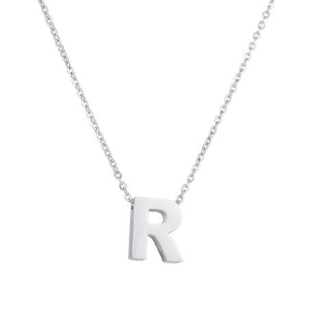 RVS Letter R Ketting - Kleur Zilver