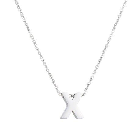 RVS Letter X Ketting - Kleur Zilver