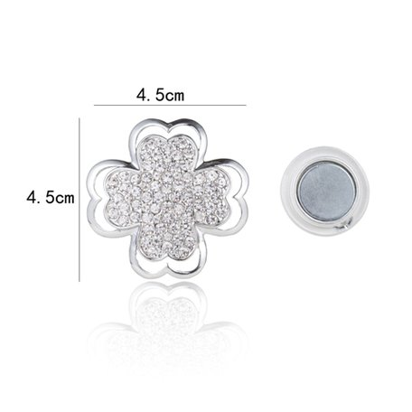 Magnetic Brooch Flower with Rhinestones - Color Silver