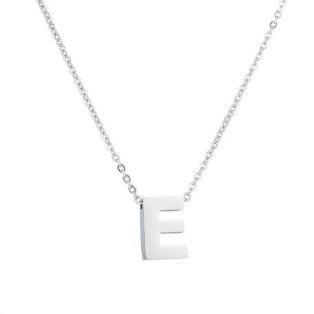 RVS Letter E Ketting - Kleur Zilver