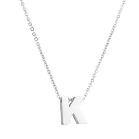 RVS Letter K Ketting - Kleur Zilver
