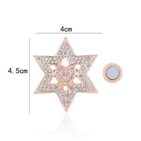 Magnetic Brooch Star with Rhinestones - Rosé