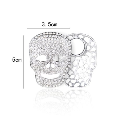 Magnetic Brooch Skull with Rhinestones - Silver