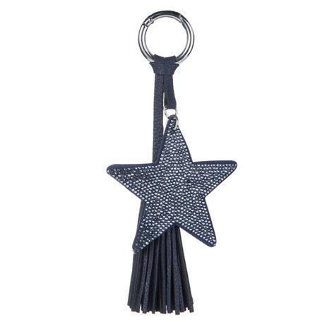 Sleutel/Tas Hanger - Ster met Strass & Lederen Tassel