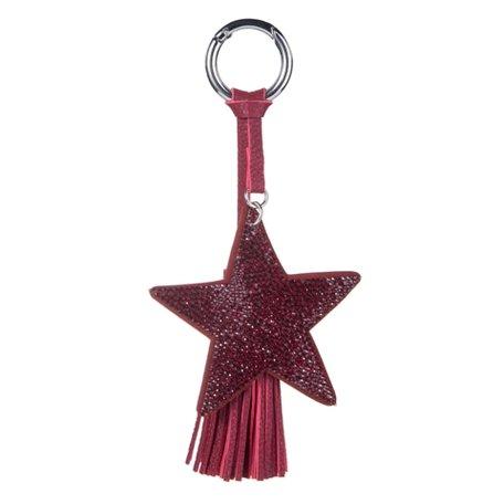 Sleutel/Tas Hanger Ster met Strass Stenen - Bordeaux