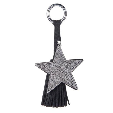 Sleutel/Tas Hanger Ster met Strass Stenen - Zilver & Zwart