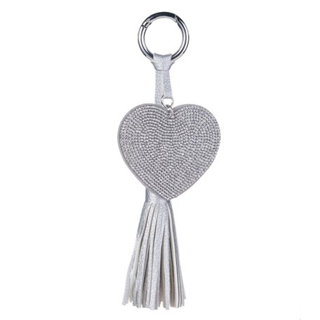 Sleutel/Tas Hanger - Hart met Strass & Lederen Tassel -  Zilver