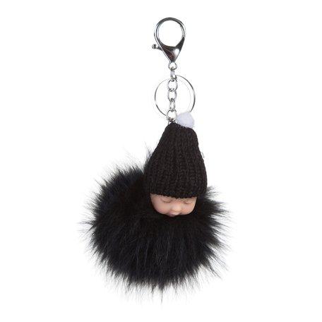 Sleutel/Tas hanger - Baby met muts - Zwart