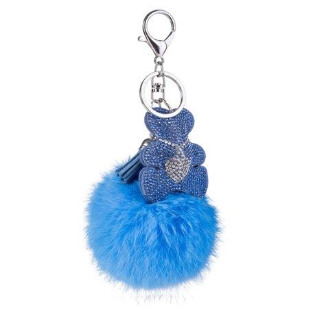Sleutelhanger - Beertje met strass & Pluizenbol - Blauw