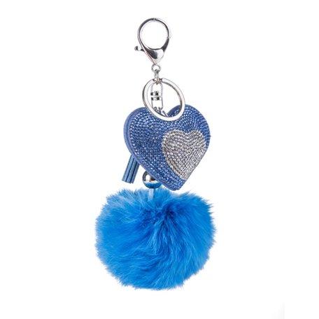 Sleutelhanger - Hart met strass & pluizenbol - Blauw