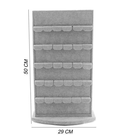 Rotator Display voor 60 Oorbellen Fluweel Grijs 50 cm Hoog