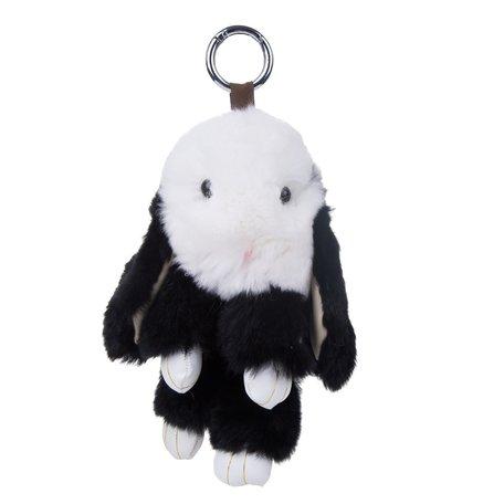 sleutelhanger Konijn 18cm Klein - Zwart & Wit