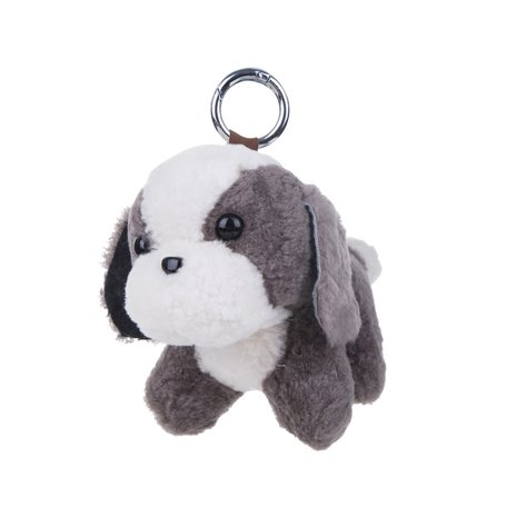 Puppy Sleutelhanger / Tashanger 16cm Groot - Grijs & Wit