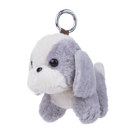 Puppy Sleutelhanger / Tashanger 16cm Groot - Licht Grijs & Wit