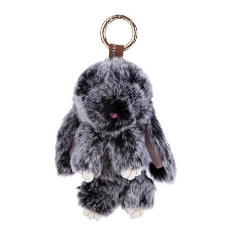 Sleutelhanger / Tashanger Fluffy Konijn Groot 23cm - Zwart
