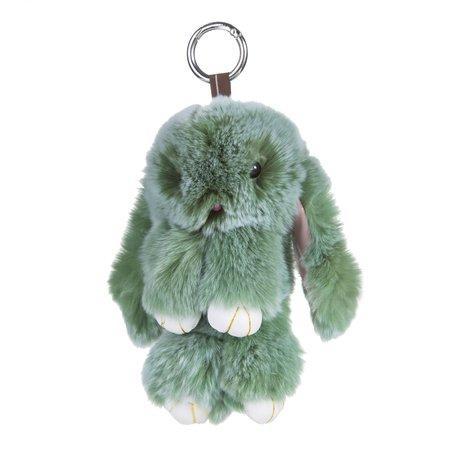 Sleutelhanger / Tashanger Fluffy Konijn Groot 23cm - Groen