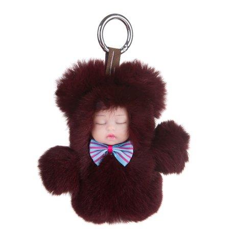 Sleutelhanger / Tashanger Fluffy Baby 16cm Groot - Bordeaux